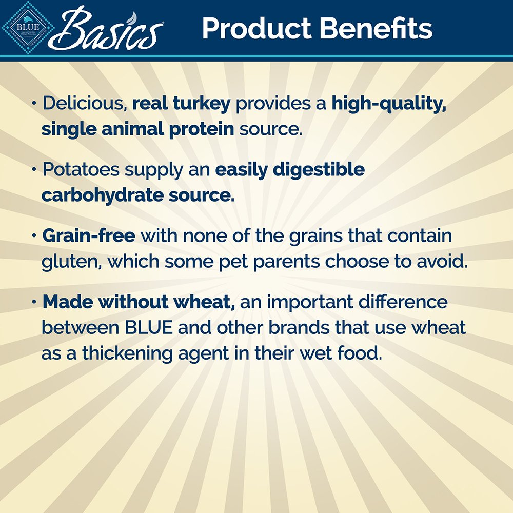 BLUE Basics Limited Ingredient Diet Adult Grain Free Turkey & Potato Wet Dog Food 12.5-oz (Pack of 12) by BLUE Basics (Image #4)
