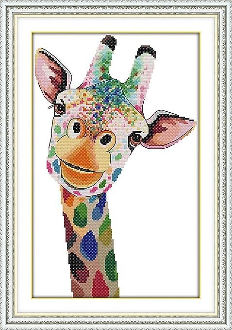 Easy Cross Stitch Kit Thread and Bead Embroidery Kit Cross Stitch Kit for Beginners Giraffe Family Giraffe Cross Stitch