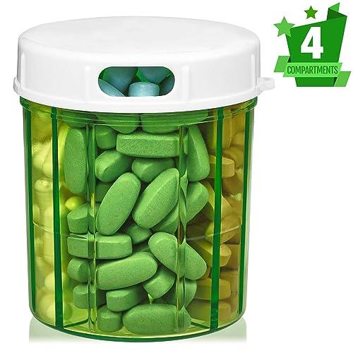 MEDca Dispensador de Pastillas con Cuatro compartimientos, para medicamentos, vitaminas y Suplementos. Botella Redonda: Amazon.es: Joyería