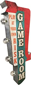 Game Room Sign, Illuminated By Battery Powered Large LED Lights, Double Sided Metal Tin Marquee Display, Wall Decor Designed To Have A Distressed Finish