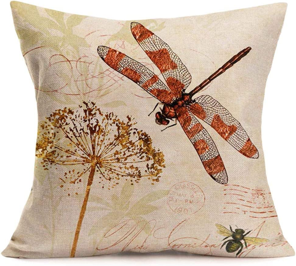 Xihomeli Home Decor Throw Pillow Cover Vintage Dragonfly with Plant Print Decorative Cushion Cover Pillow Case Cotton Linen Animal Farmhouse for 18x18 Inch for Sofa (Dragonfly)