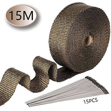 ilauke 15M 15 Fascette per Auto Moto Acciaio Inossidabile Che Chiude I legami A Chiave 5cm Nastro Termico Isolante in Fibra di Vetro Lunghezza per Vano Motore Tubi di Scarico un pacchetto di 15