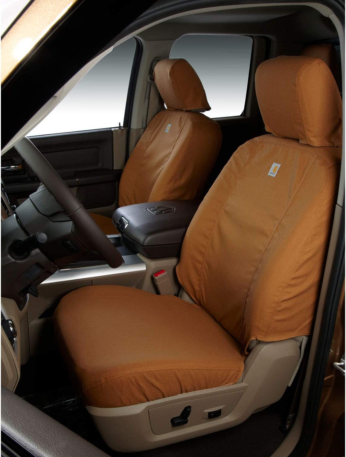 Covercraft Carhartt SeatSaver Third Row Custom Fit Seat Cover for Select Cadillac//Chevrolet//GMC Models Duck Weave Brown