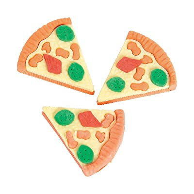Fun Express Pizza Erasers (Set of 12 Slices) Great for Rewards, and School Supplies: Toys & Games
