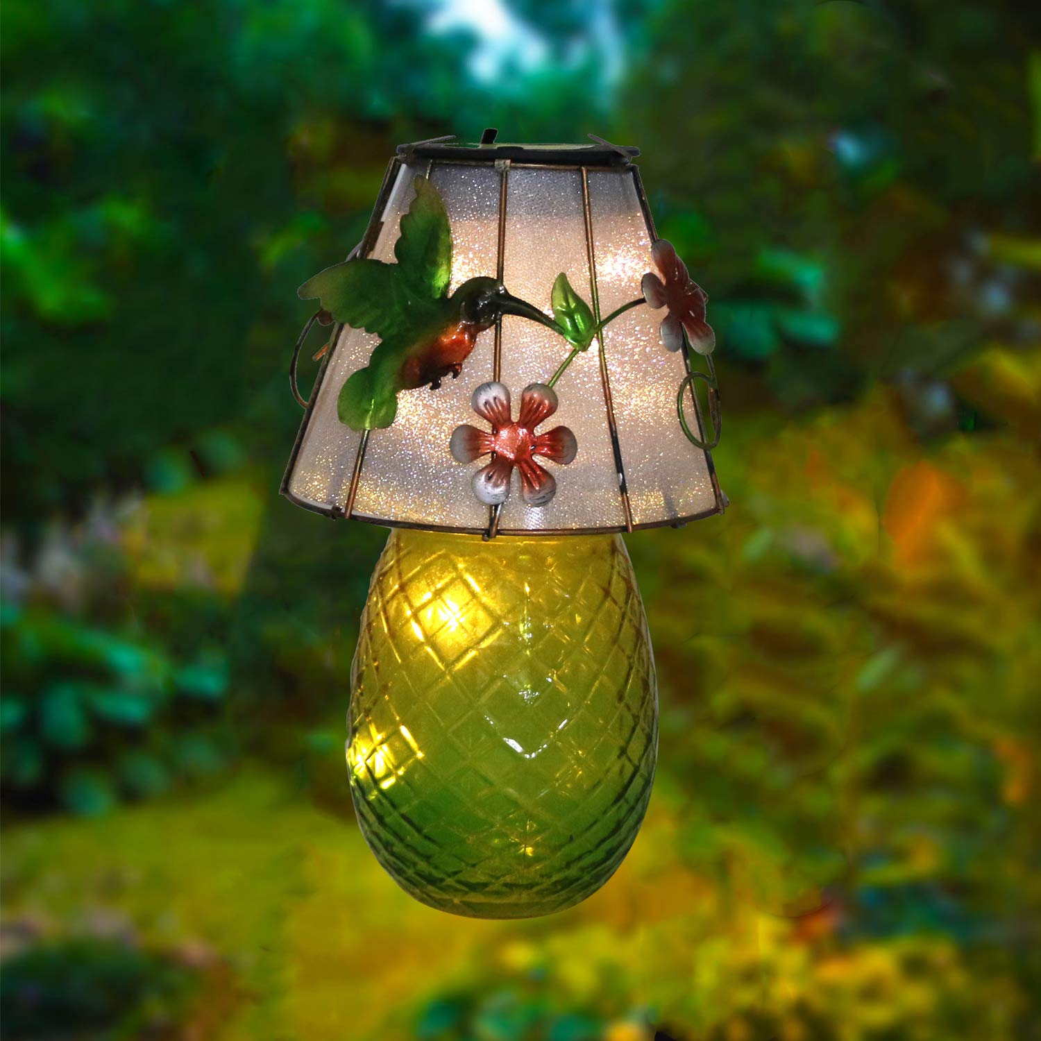 W-DIAN Pineapple Lantern Solar Lights Outdoor Garden Metal Cute Fruit Lights Decorative Landscape