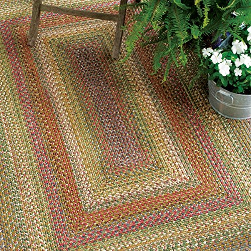 Oval Braided Rug 2' x 3' Homespice Rainforest Beige, Red, Green Indoor - Outdoor, Durable Eco Friendly Natural Fiber, Easy to Clean, Reversible, Handmade from Homespice
