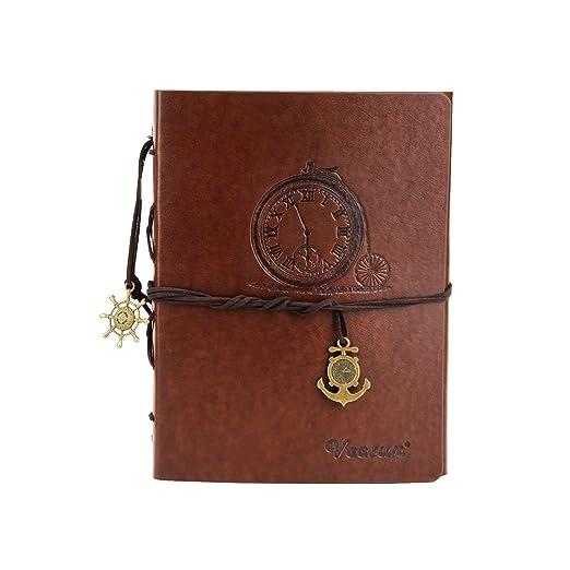 VEESUN B6 Libreta Bonitas Cuaderno de Cuero Vintage Diario de Viaje Bloc de Notas en Blanco Regalo Original San Valentín Navidad cumpleaños ...