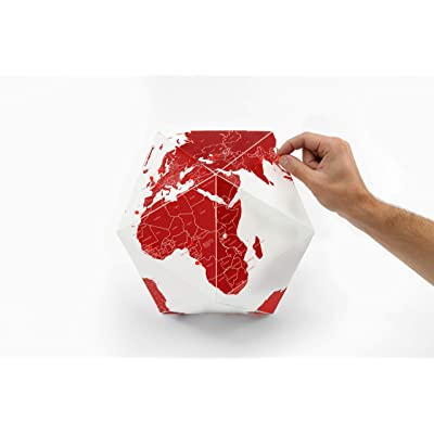 "Palomar Foldable Hexagon Globe White and Red with 50 Red Pins Goes by Countries Non-Toxic Inks on Cordenons Wild Paper with 35% Cotton Small 9.05"" Inches: Office Products"