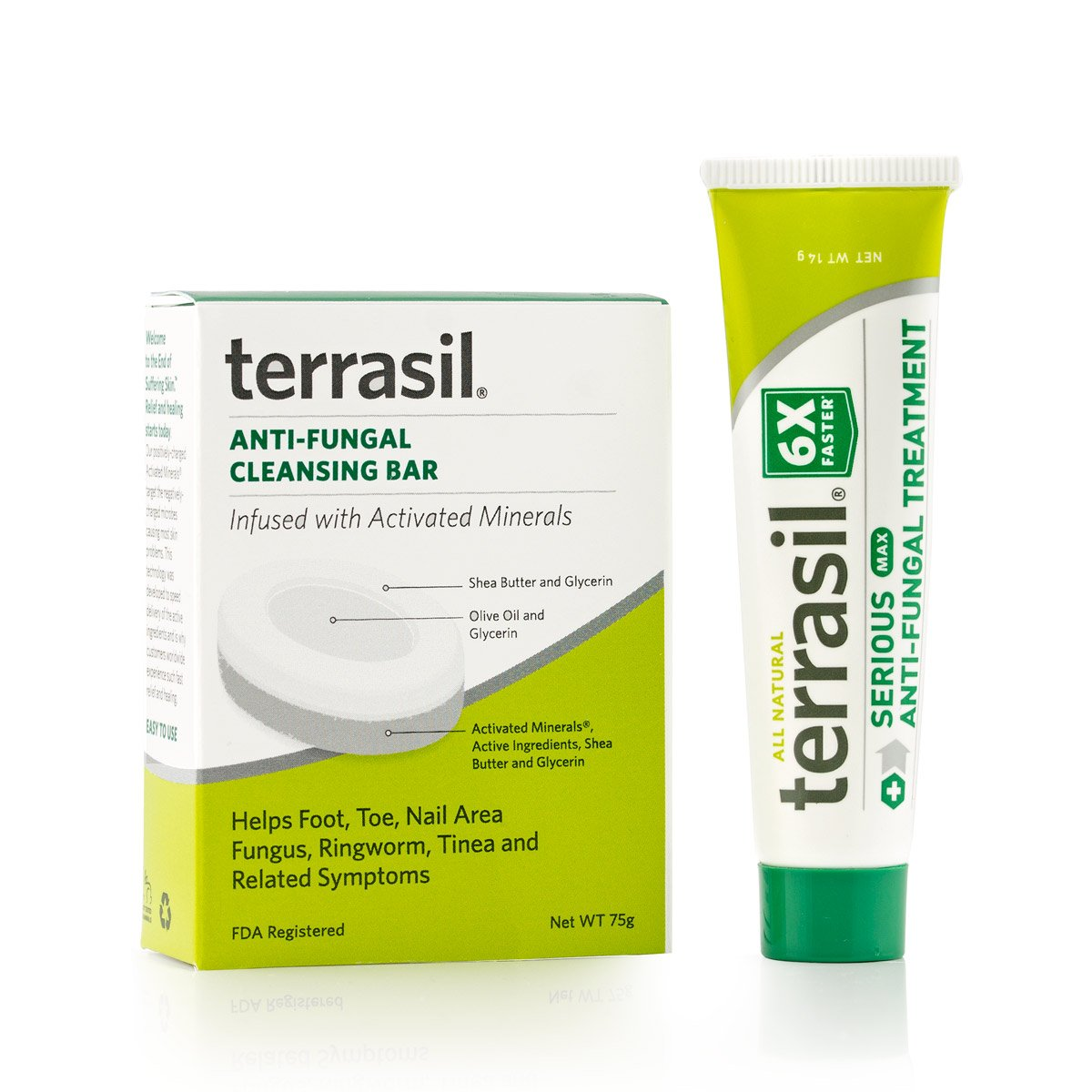 terrasil® Anti-fungal Treatment MAX + Anti-fungal Cleansing Soap - 6X Faster Doctor Recommended 100% Guaranteed All-Natural Soothing Clotrimazole OTC-Registered - Complete Treatment- 14g + Bar by Aidance Skincare & Topical Solutions