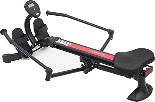 Lanos Hydraulic Rowing Machine Adjustable Resistance Smooth and Full-Motion Rowing Stroke LCD Monitor Compact