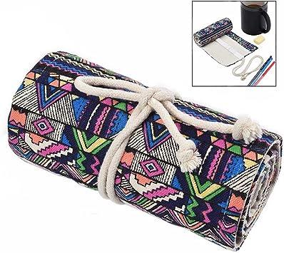 iwobi Bolso para lápices, Estuche para lápices, Estuche Enrollable para 72 lapices Colores para Envolver Lápices de Colores, Estilo de Bohemia