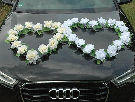 Autoschmuck – Guirnalda decorativa de boda para capó del coche, con rosas. Corazón doble