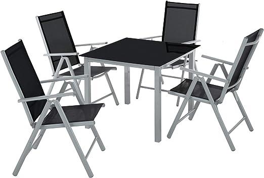 TecTake Aluminio Conjunto Muebles de Jardin 4+1 Silla Adjustable ...