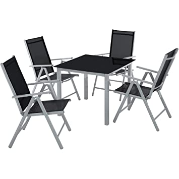 TecTake Aluminium 4+1 Salon de Jardin Ensemble sièges Meubles Chaise ...