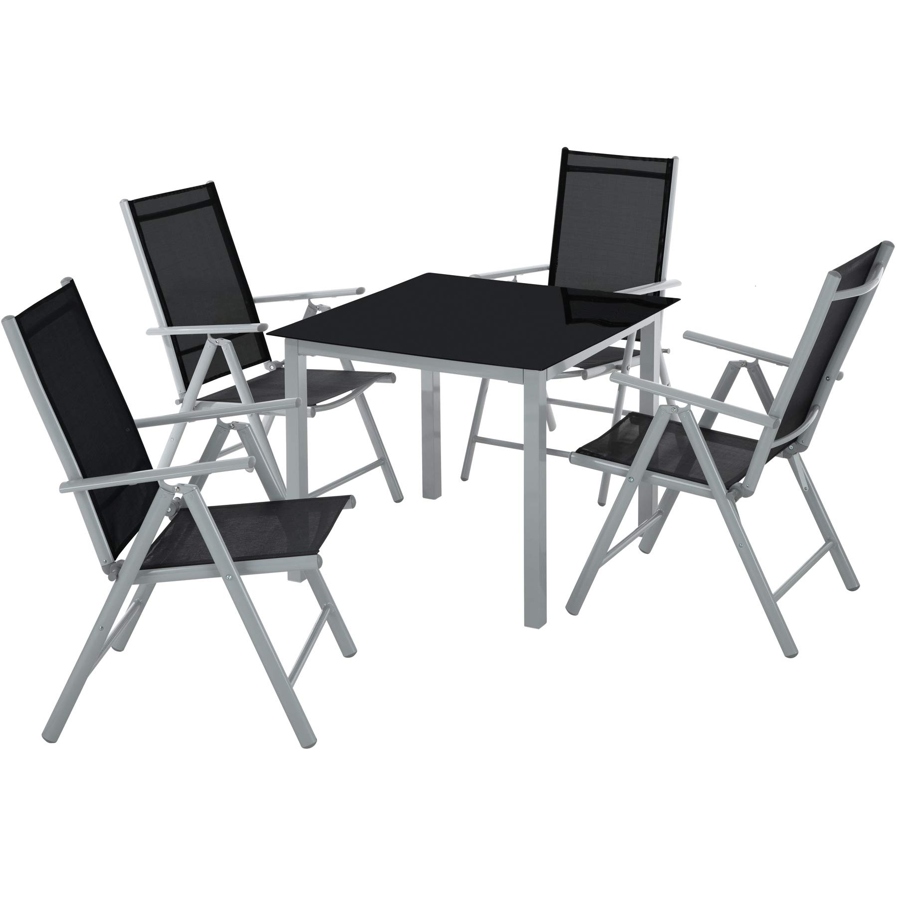 TecTake Aluminium garden furniture set 9+9 table and foldable chairs set  tabletop made of glass - different colours - (silver grey  no. 902969)