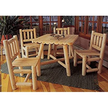 Rustic Natural Cedar Furniture Old Country 5 Pc. Square Patio/Dining Set