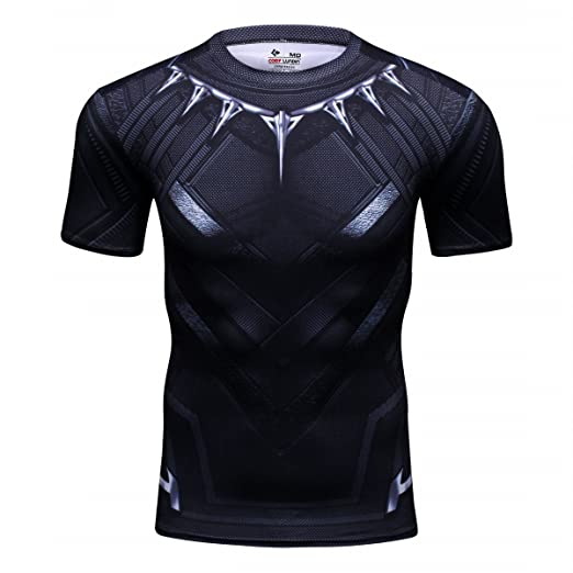 87656a20 Amazon.com: Black Panther Shirt Men's Film Super-Hero Series Compression  Sports Running Short Sleeve Tee Kids - Marvel Avengers: Clothing