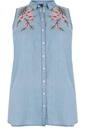 f974dc2fe6b Yours Clothing Women s Plus Size Denim Sleeveless Shirt with Floral  Embroidery Size 16 Blue