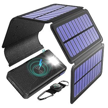 BLAVOR Cargador Solar Portátil 5 Paneles Solares Desmontable 20000mah Batería Externa Inalámbrico Banco de Energía Portátil con Salida Doble Tipo C ...