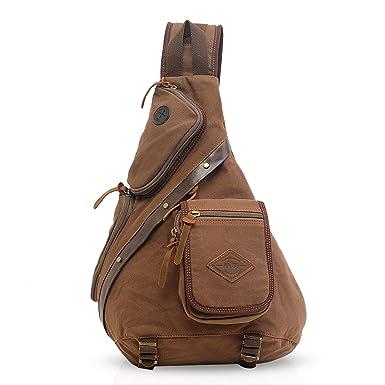 a1067d450329 FANDARE Vintage Shoulder Backpack Cross Body Bag Sling Bag Chest Pack Bag  Chest Strap Bag One