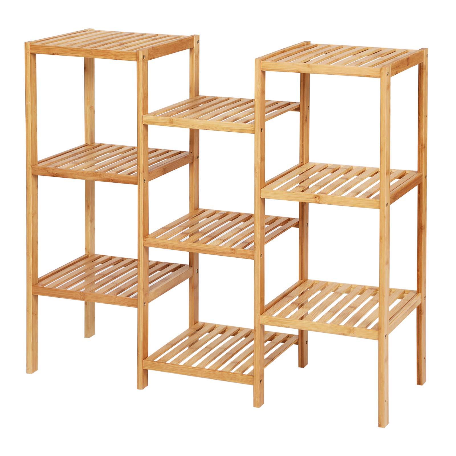 SONGMICS Bamboo Customizable Plant Stand Shelf Flower Pots Holder Display Rack Utility Shelf Bathroom Rack 9-Tier Storage Rack Shelving Unit UBCB93Y (Renewed) by SONGMICS