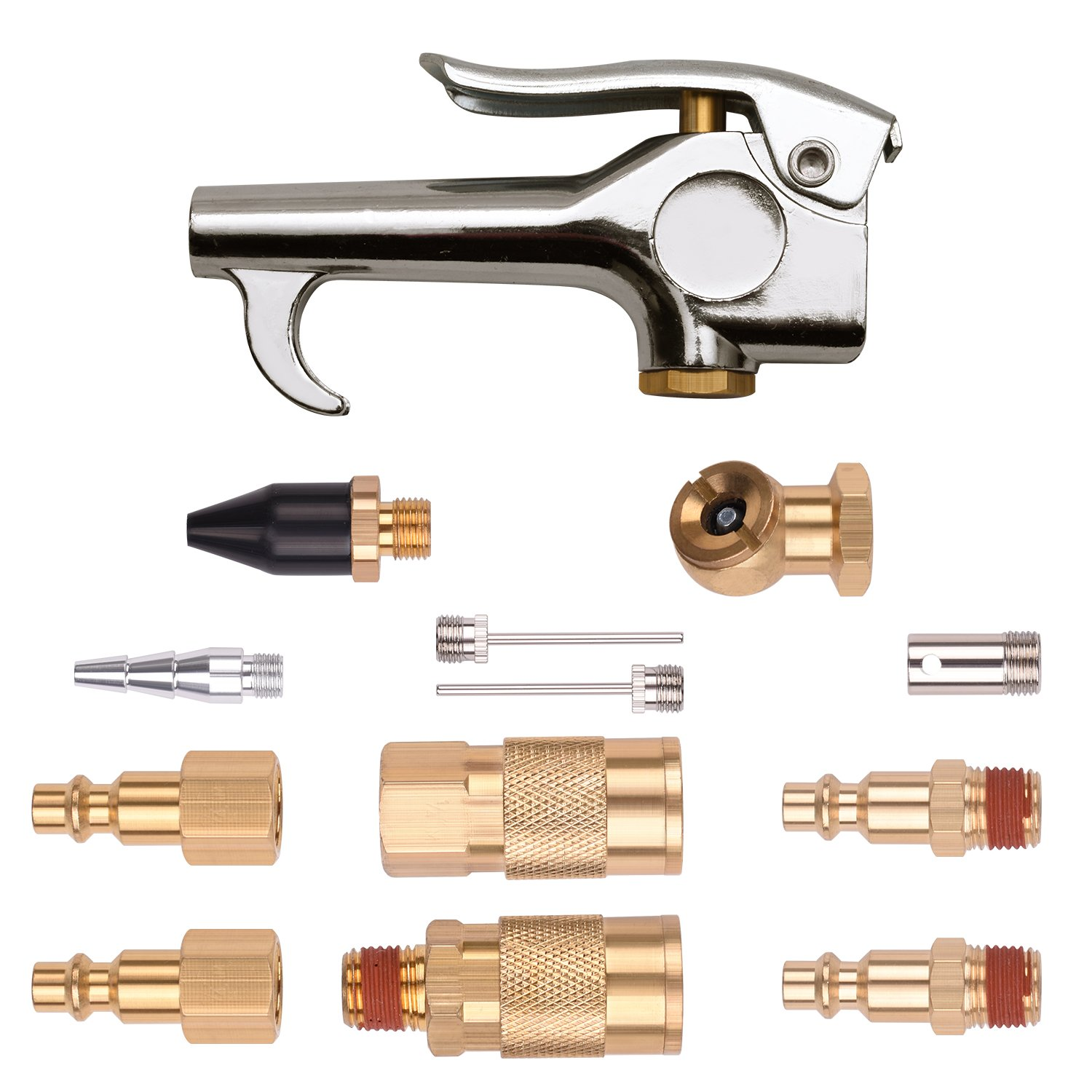 WYNNsky 1/4'' NPT Air Blow Gun and Brass Air Accessory Kit, Air Compressor Connect Coupler/Plug - 13 Piece Air Tools Kit