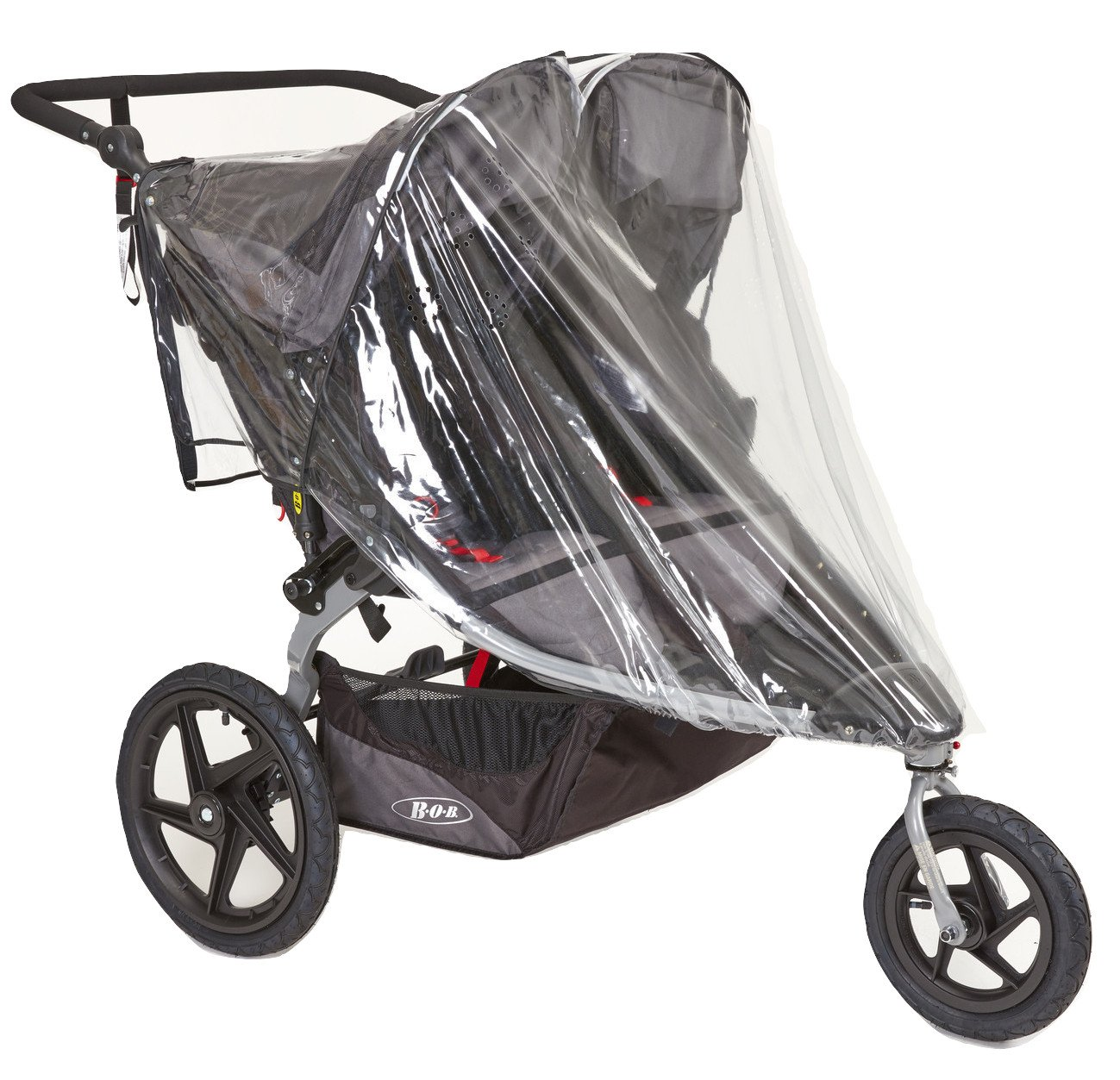 Sashas Peekaboo Friendly Rain and Wind Cover for BOB Revolution Flex Duallie & Strides Double Jogging Stroller by Sasha Kiddie Products (Image #1)
