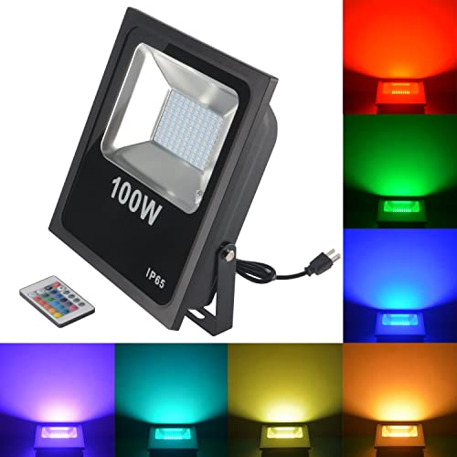 RSN LED Flood Light 100W 5050 RGB Multi Color Changing IP65 Waterproof with US-Plug for Garden Home Yard Hotel Pathways 100W RGB