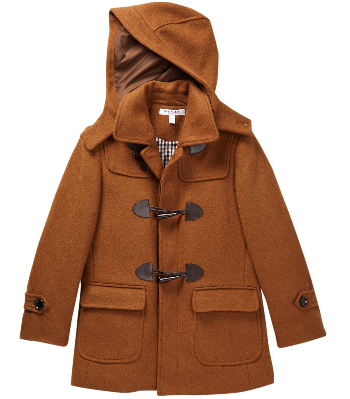 Isaac Mizrahi Boy's CT1004 Solid Wool Toggle Coat with Removble Hood - Tan - 14 by Isaac Mizrahi