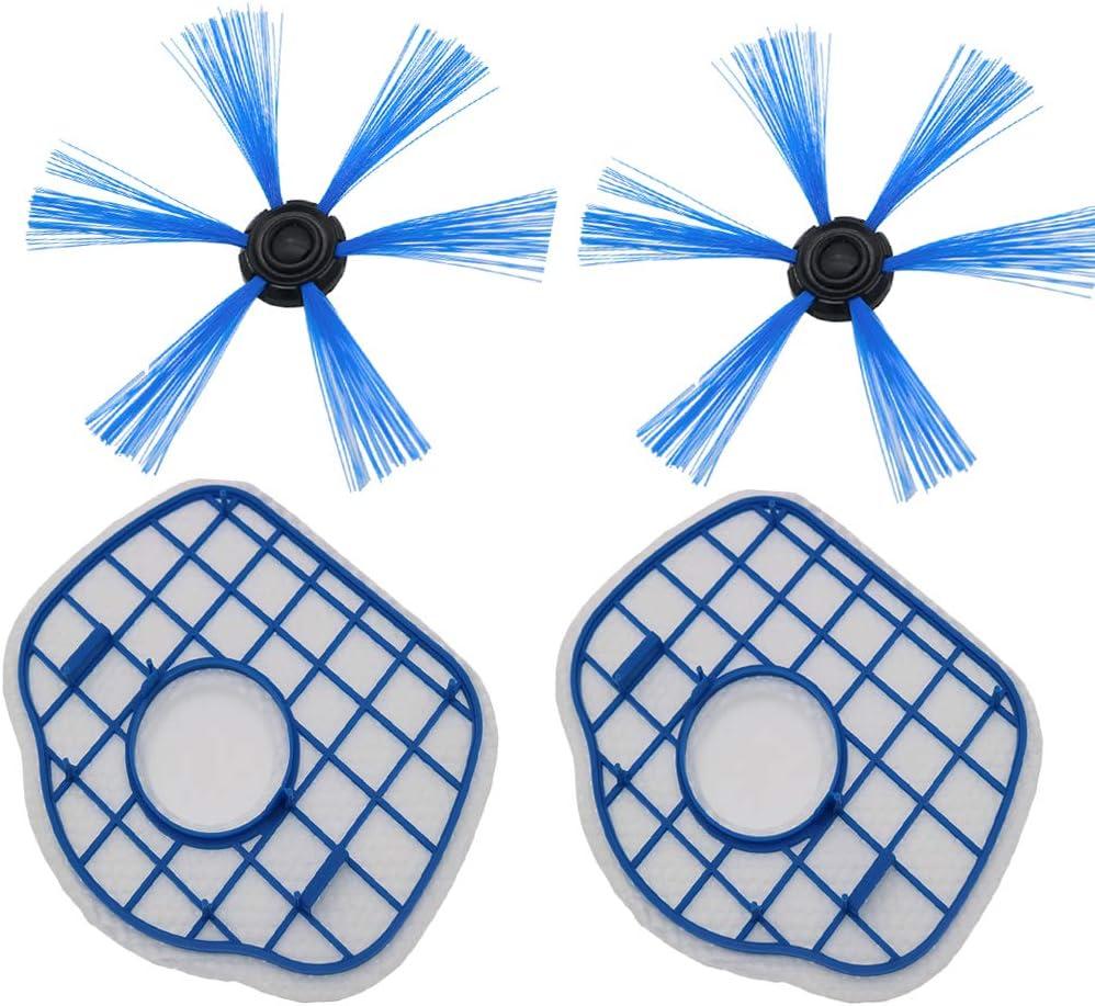 Louu 2 de Filtro HEPA + 2 Cepillo Lateral Robot Aspirador Filtros de Repuesto para Philips FC8700 FC8710 FC8603 Piezas de Aspiradoras: Amazon.es: Hogar
