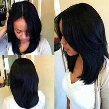 Amazon Com Atozwig Short Black Bob Cut Wigs Of Natural Hair Short