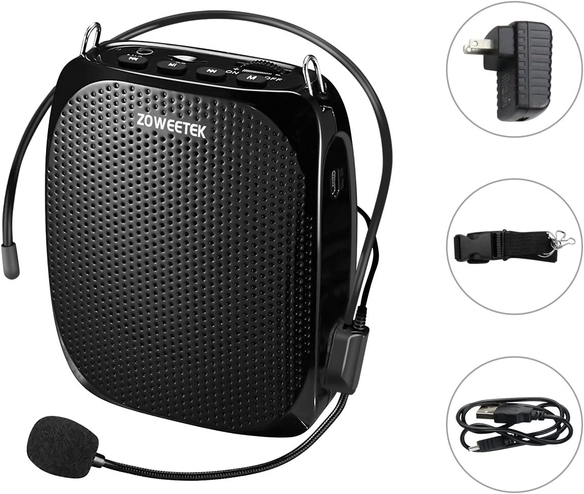 6. Zoweetek Portable Rechargeable Microphone Headset and Waistband