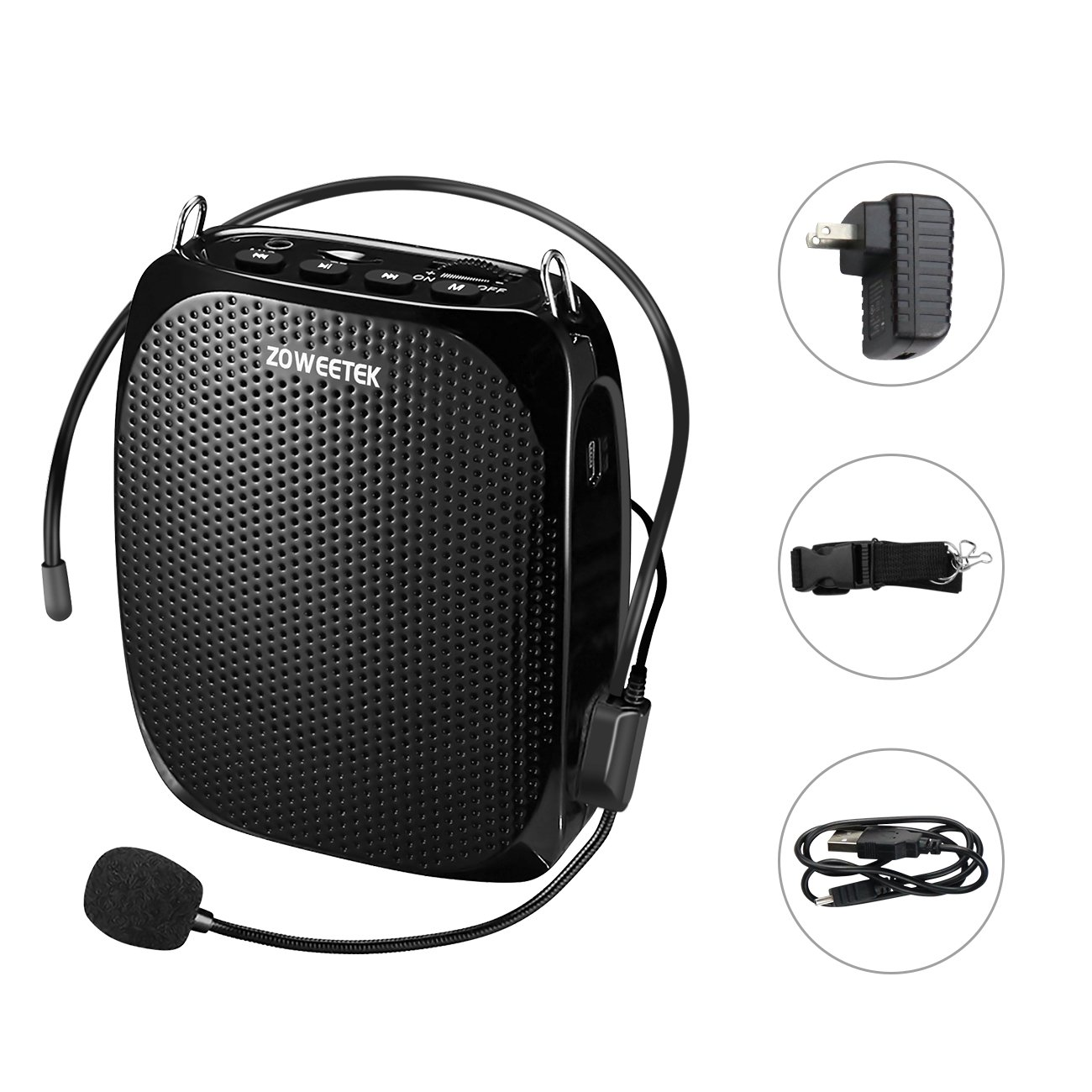 Zoweetek Portable Rechargeable Voice Amplifier With Wired Microphone and Waistband, Supports MP3 Format Audio for Teachers, Tour Guides, Coacher, Training