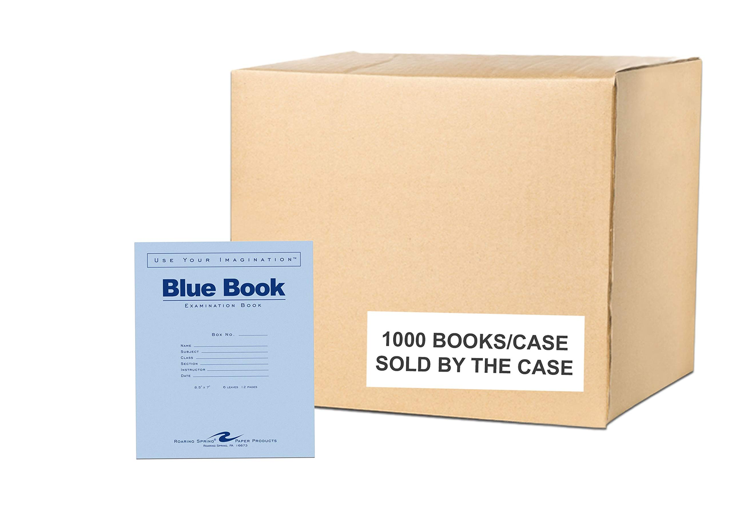 Case of 1000 Exam Books, 8.5''x7'', 6 sheets/12 pages of 15# Smooth White Paper, Wide Ruled W/Margin, Heavy Blue Cover, Stapled by ROARING SPRING