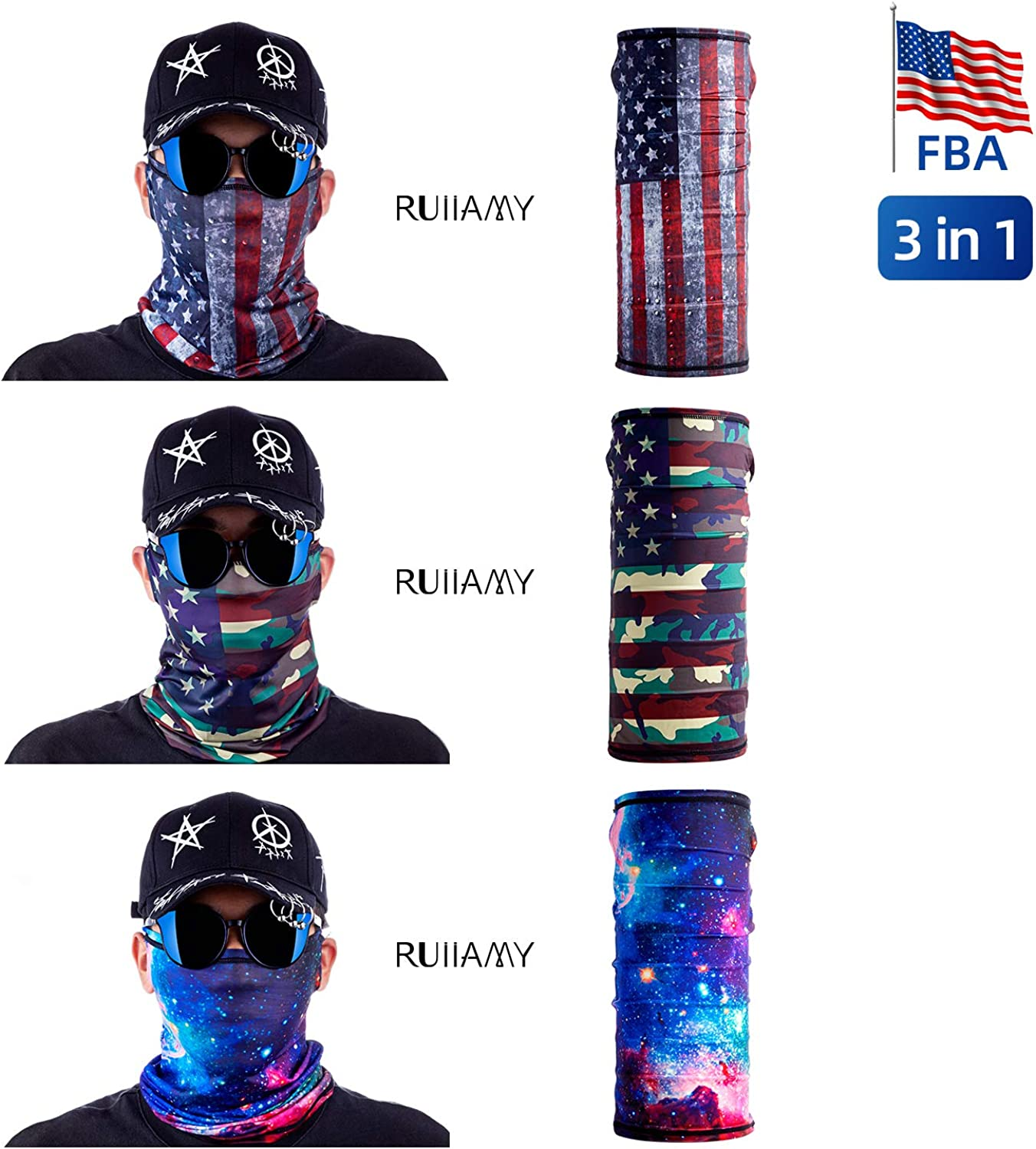 Neck Gaiter 3Pcs Unisex 3D Face Sun Mask Balaclava with Ear Holds for Outdoors