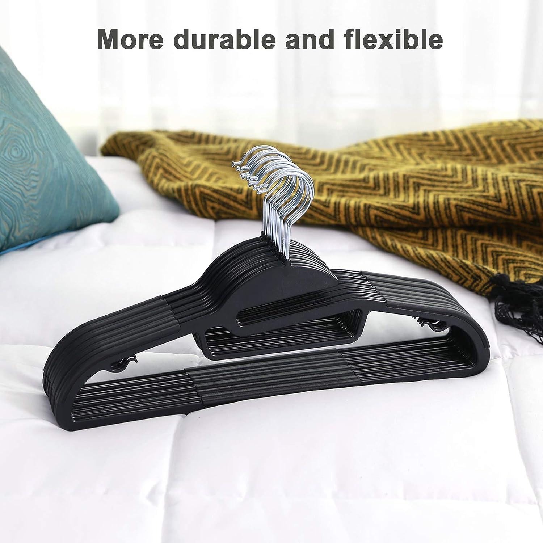 Black UCRP41BK-50 Ultra Thin Clothes Hangers SONGMICS Plastic Hangers 360/°Swivel Hook Non-Slip