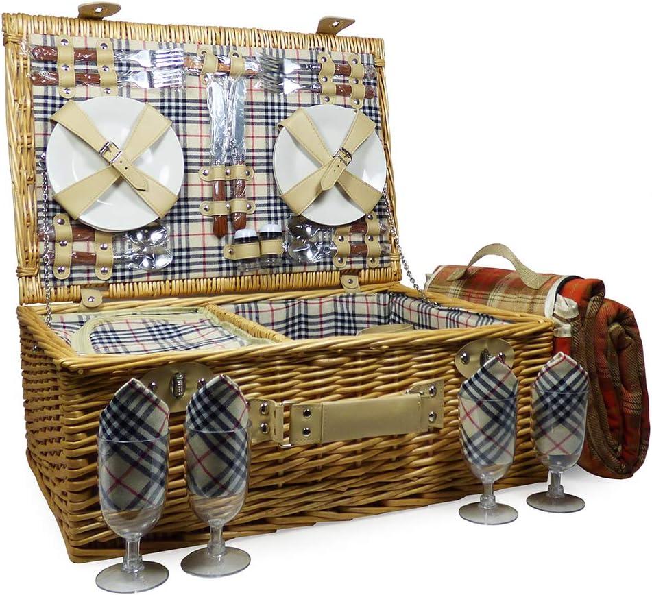 Grosvenor 4 persona cesta de Picnic y púrpura tartán manta - Ideas de regalo para Navidad -, cumpleaños, boda, aniversario, compromiso, San Valentín, jubilación, él, ella, gracias, tú, día del Padre,