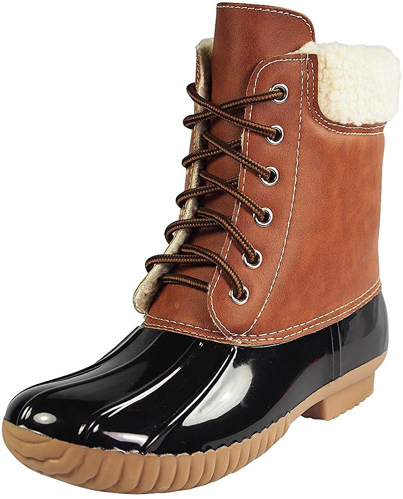 49e37c863ef AXNY DYLAN-3 Women's Two Tone Lace Up Ankle Rain Duck Boots