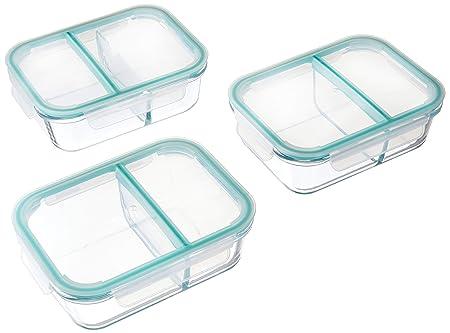 Cristal comida Prep recipientes 2 compartimento recipiente ...