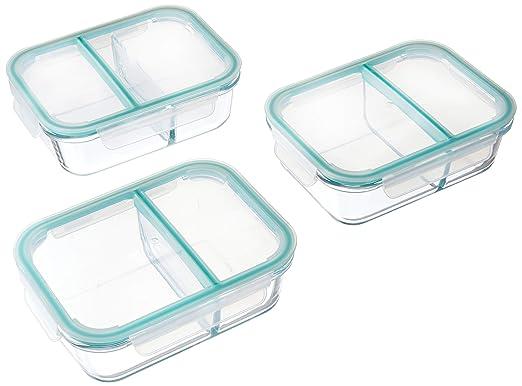 Cristal comida Prep recipientes 2 compartimento recipiente para ...