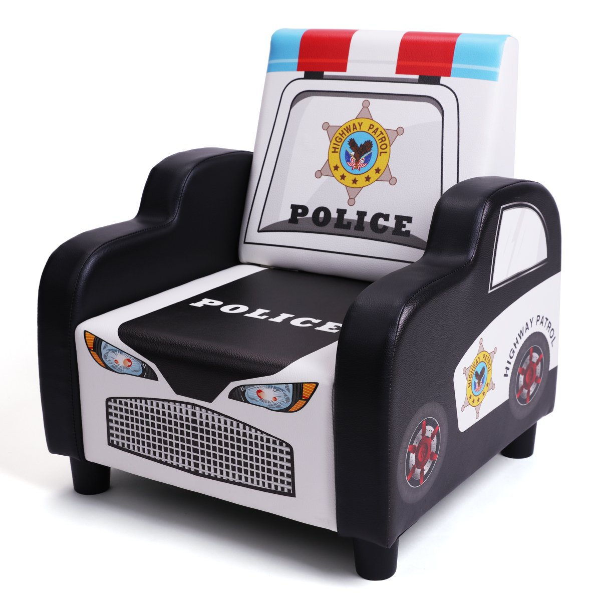 BOCCA Children's Sofa Chair,16.53'' L x 16.53'' W x 18.5'' H Ideal for Children 3 to 7 Age, Black PVC Police Car Shape Kid's Sofa