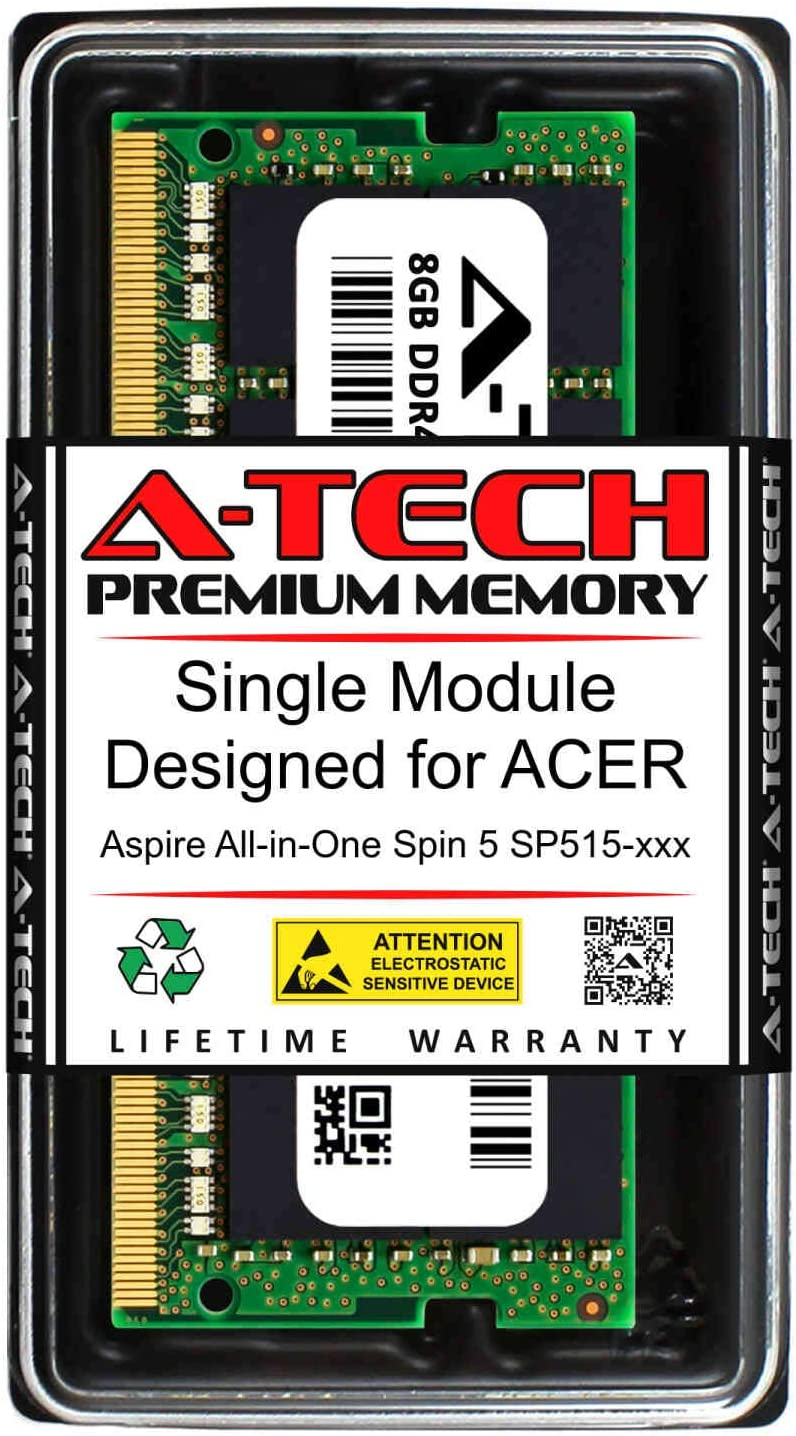 A-Tech 8GB RAM for ACER Aspire All-in-ONE Spin 5 SP515-XXX | DDR4 2400MHz SODIMM PC4-19200 260-Pin Non-ECC Memory Upgrade Module