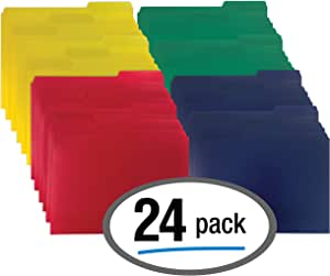 Heavyweight Poly File Folders, 1/3 Cut, Top Tab, 24 Per Box, by Better Office Products, Letter Size, Assorted Colors-Red, Blue, Yellow Green, 24 per Box