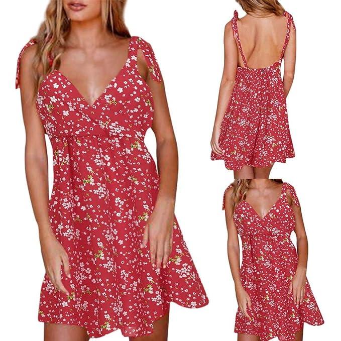 Cinnamou Vestidos Mini, Vestidos Mujer Verano 2018 Sin Mangas Abierta Espalda Mujer Floral Boho Vestido Lady Beach Verano Sundress Sexy Vestido Vestidos del ...