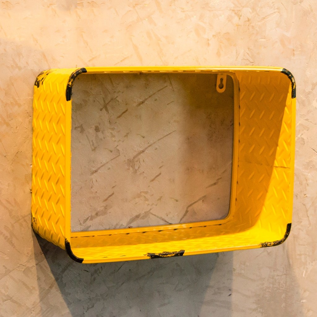 WT storage rack BJLWT Square Wrought Iron Shelf, Vintage Industrial Decorative Wall Shelf Organizer (Color : Yellow 351526cm)