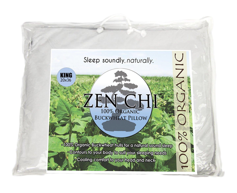 Zen Chi Buckwheat Pillow- Organic King Size (20''X36'') w Natural Cooling Technology- All Cotton Cover w Organic Buckwheat Hulls