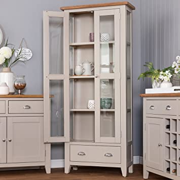 The Furniture Outlet Chester Grey Painted Oak Display Cabinet