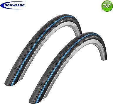 Schwalbe Lugano 25-622 - Cubiertas para Bicicleta de Carretera con Rayas Azules (2 Unidades, 28