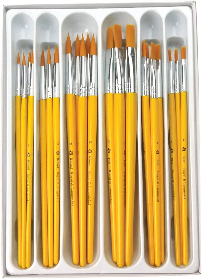 Royal Brush Taklon Hair Classroom Value Pack, Assorted Size, Pack of 30 - 1289617