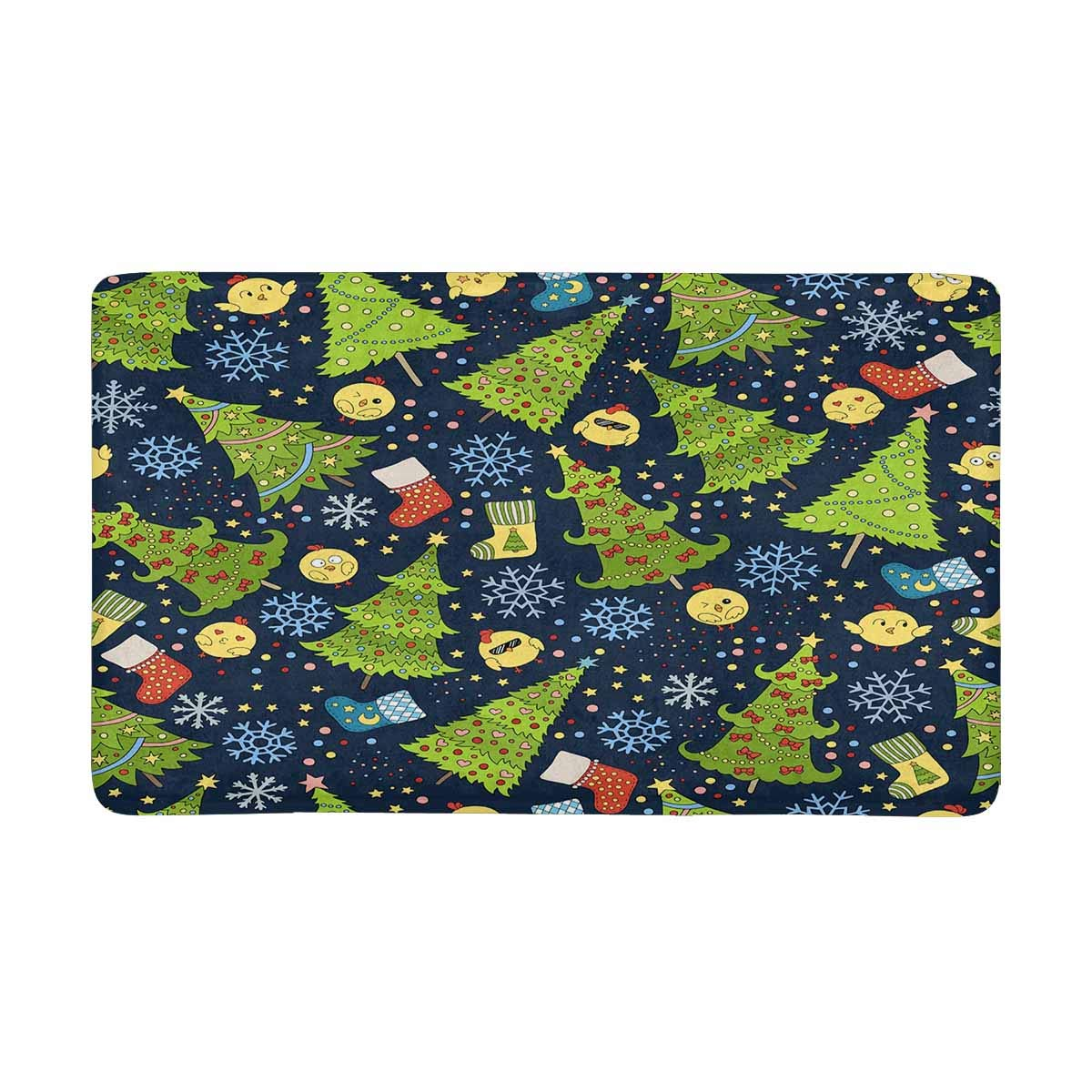 InterestPrint Christmas Tree Front Door Mat 30 X 18 Inches Welcome Doormat for Home, Indoor, Entrance, Kitchen, Patio